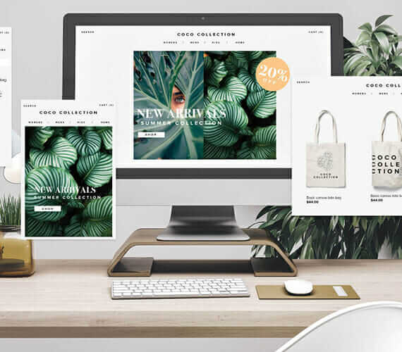 """Mockup of Shopify E-commerce website """"Coco"""" shown on a desktop computer"""