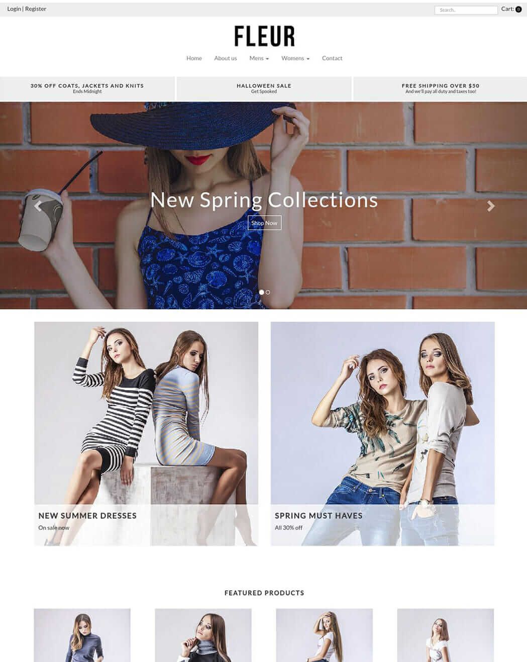 Screenshot of the homepage of the Fleur theme for Vend E-commerce