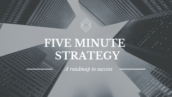 The cover image for Five Minute Strategy, a course on Shopify and business strategy